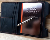 Black Leather Passport Wallet / Field Notes Cover w/ Pen Holder & Card Pockets ~ Birthday, Anniversary or Valentines Day Gift