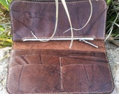 Brown Distressed  Pull-up Leather Tall Wallet