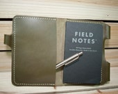 Green Leather Field Notes Cover / Passport Cover w/ Pen Holder ~ Birthday, Anniversary or Valentines Day Gift