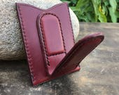 In Stock: Burgundy Bridle Leather Card Wallet w/ Magnetic Money Clip