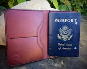 In Stock:  Full Grain Veg Tan Leather Passport Wallet - Burgundy Bridle Leather