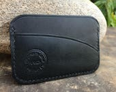 In Stock: Black Bridle Leather Minimalist Card Wallet