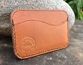 In Stock: Tan Bridle Leather Minimalist Card Wallet Brogue Punch Pockets