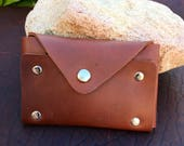Leather Card Wallet / Business Card Holder - Brown w/ Nickel Rivets