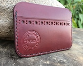 In Stock: Burgundy Bridle Leather Minimalist Card Wallet Brogue Punch Pockets