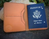 In Stock:  Full Grain Veg Tan Leather Passport Wallet - Tan Bridle Leather