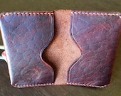 Red-Brown Bison Leather Folded Card Wallet