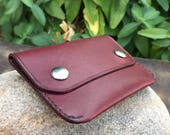 In Stock: Burgundy Bridle Leather Minimalist Snap Wallet