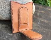 In Stock: Russet Brown Harness Leather Card Wallet w/ Magnetic Money Clip