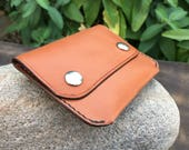 In Stock: Tan Bridle Leather Minimalist Snap Wallet