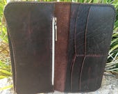 Red-Brown Bison Pull-up Leather Tall Wallet