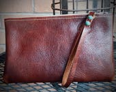 Ladies Clutch - Brown Leather w/ Cream Riri Zipper