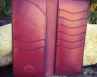 In Stock: Burgundy Veg Tan Leather Bifold Gentleman's Tall / Jacket Wallet