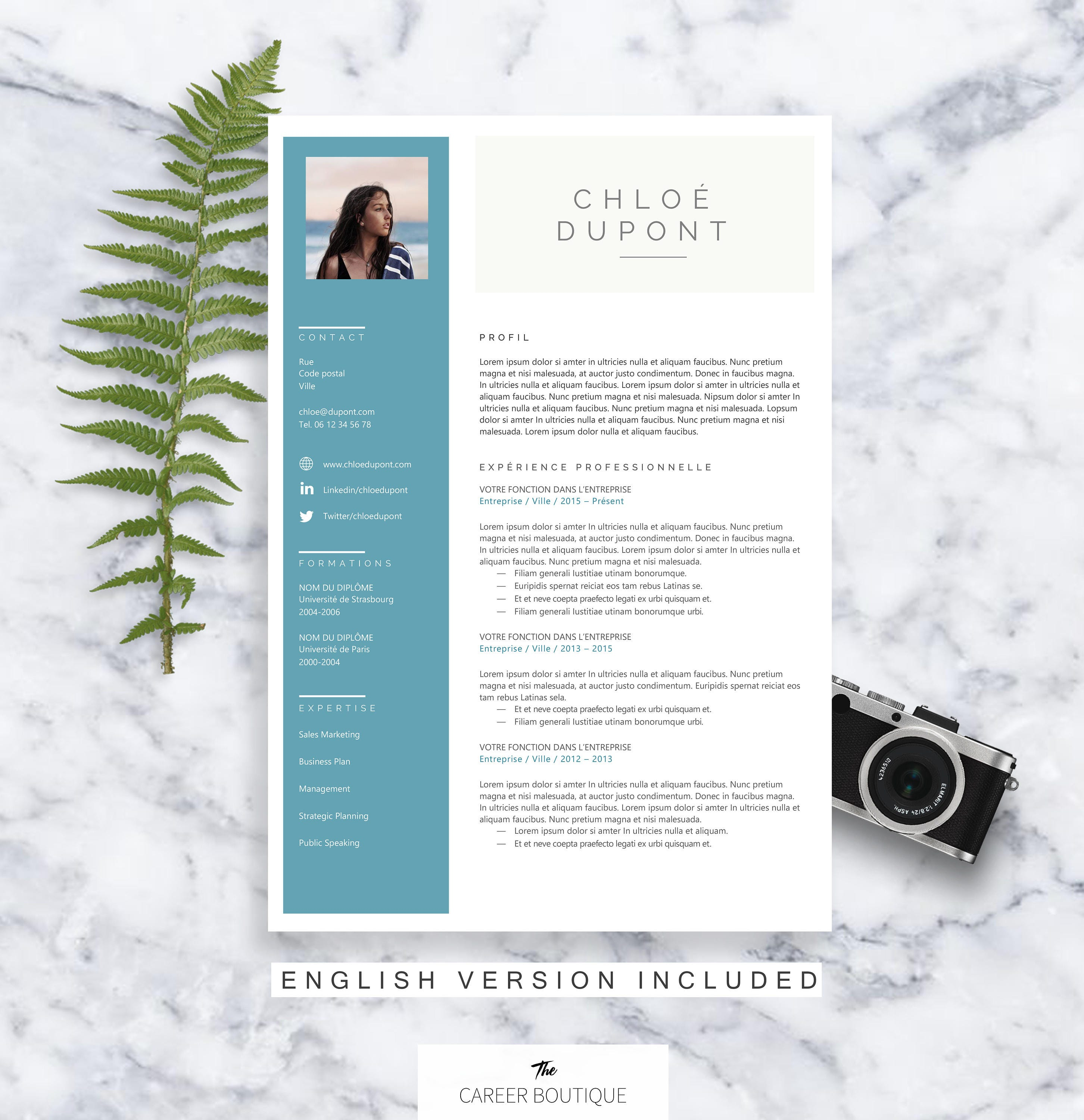 mod u00e8le de cv chloe resume template lettre de motivation