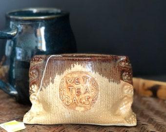 Tea Bag Holder Pottery Vintage