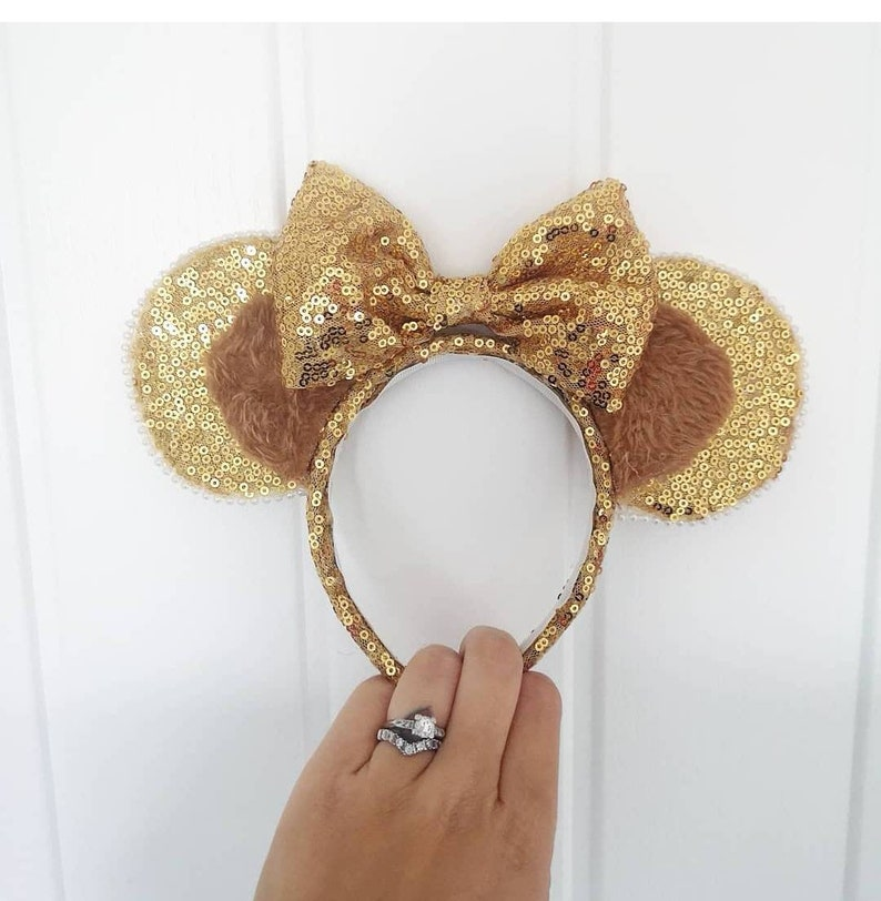 Minnie Mickey Mouse Ears Bow Headband Fancy Dress Hen Night Party Sequin Flowers