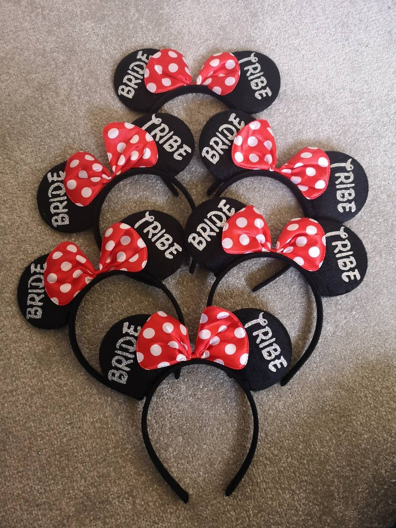 Team Bride Disney Minnie Mouse ears Bride tribe Bride Squad Favours Hen party,Batchelorette birthday party