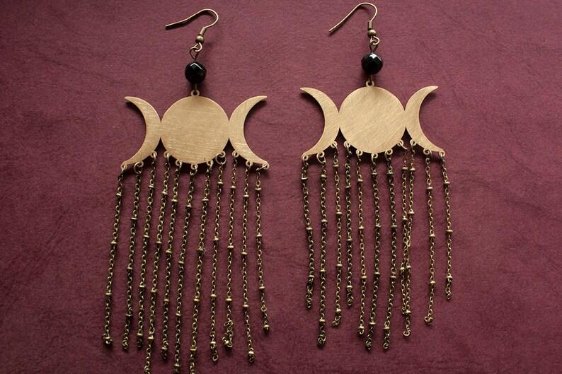 Wiccan Jewelry wicca earrings Triple Goddess earrings TRIPLE MOON GODDESS earrings with chain drops Triple Moon earrings