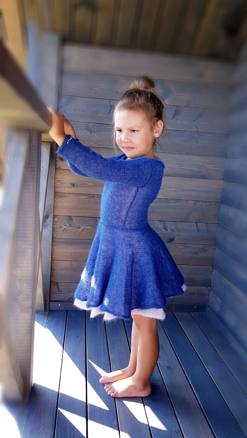 a9404970f63 Navy blue girls dress with beads Little girl dresses Vintage