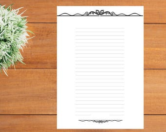 printable lined paper victorian border paper elegant stationery page printable letter writing wedding lined paper decor calligraphy set