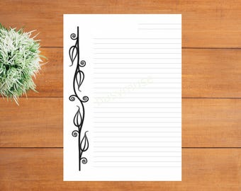 printable lined border paper elegant simple a4 letter paper calligraphy correspondence paper ready to print flower border