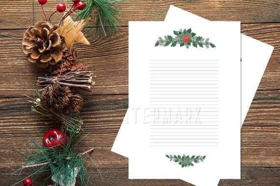 Christmas Letter Border.Green Border Xmas Lined Paper Santa Letter Printable Christmas Holiday Season Mistletoe Diy Lines Paper Lined Page Xmas Stationery Paper
