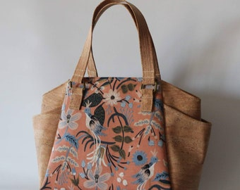 Soft Crossbody Strap Sale on Tan Leather Tote Bag with Rosa Navy Rifle Paper Co Linen Accent Small Medium Size Pockets Inside and Out