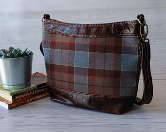Crossbody Zippered Tote Bag, Bucket Bag in Brown Leather with Fraser from Outlander Wool Tartan Fabric.