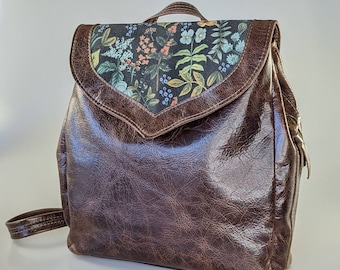 Leather Convertible Backpack, Curvy Wildwood Flap with Contrast Panel of Rifle Paper Co's Herb Garden Canvas. Handmade in Canada