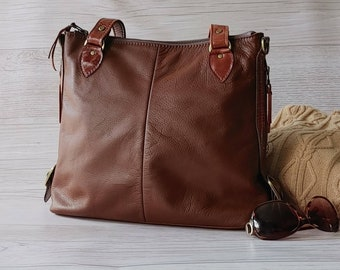 Shoulder Bag in Dark Tan. Leather Tote with Handles and Crossbody Strap. Large Size Purse for Women. Handmade in Canada.