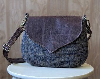 Tweed and Leather Crossbody Saddle Bag. Brown Leather and Harris Tweed Wildwood Handbag. Made in Canada.