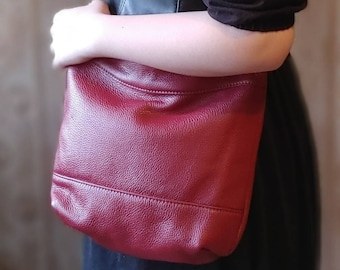 """Mid SIzed Handbag in Cranberry Red Pebbled Leather. """"Sway"""" Crossbody Strap Zippered Women's Tote Bag, William Morris, Perfect Every Day Bag"""