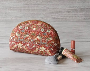 Cosmetic Pouch in Strawberry Thief Red. Handmade in Canada, Zipper Top Purse, Project Pouch, Makeup Bag, Everything and Anything Bag