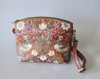 Handbag Purse in William Morris  Strawberry Thief with Leather Crossbody Strap. Fabric is Coated. Bag is Handmade in Canada for Woman, Teen