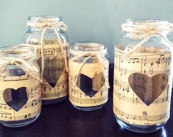 Vintage Sheet Music Mason Jars rustic Wedding Centerpiece