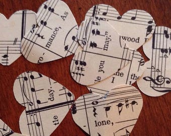 Beautiful Sheet Music Confetti Hearts - 200
