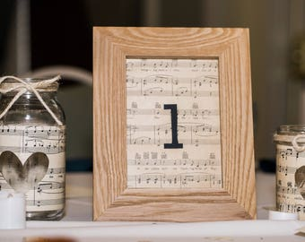 Custom-made Romantic sheet music table numbers (unframed)