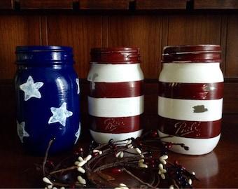 Set of 3 Distressed American Flag Mason Jars Rustic Americana Primitive Country Decor
