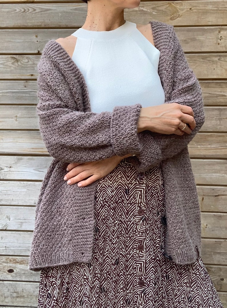 Oversized relaxed wool alpaca cardigan in brown