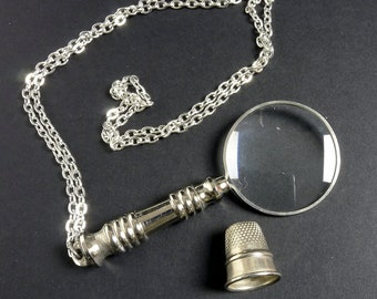 Pewter magnifier, magnifying glass 2.5x magnification