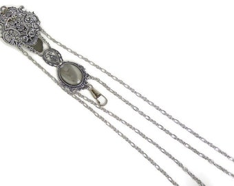 Silver Chatelaine Fan Holder / Reproduction 1900 with Rose Motive