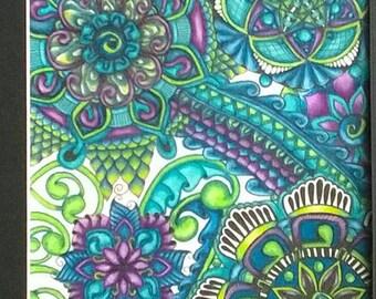 Original Zentangle style mandala drawing, matted