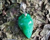 Certified Natural Jadeite Dyed Green Jade Pendant hand carved in China 18 kt white gold and diamond bail
