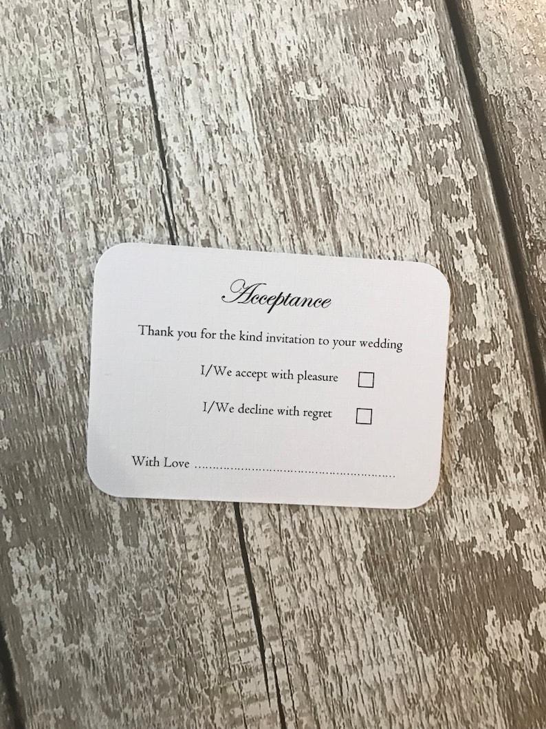 Wedding acceptance cards