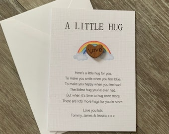 A tiny little pocket hug poem card, isolation gift, miss you, hug token, thinking of you, quarantine gift, heart