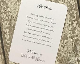Pack of 50 wedding money gift poem
