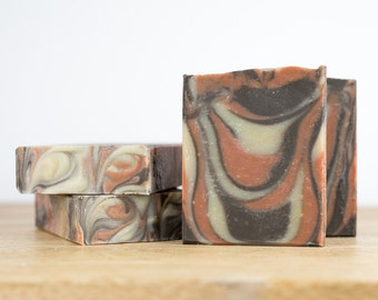 Vegan Soap - 'Love Child' - Patchouli & Ylang Ylang Essential Oils - Earthy Floral Scent with Natural Clay Colour - Triple Butter Body Soap