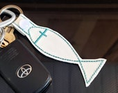 Ichthys, Christian, Jesus Fish Keychain Key Fob, Snap Tab, Zipper Pull, Charm