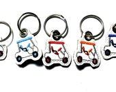 Golf Cart Keychain, Key Fob, Zipper Pull, Snap Tab