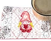 Valentine Girl Gnome Mug Rug Coaster